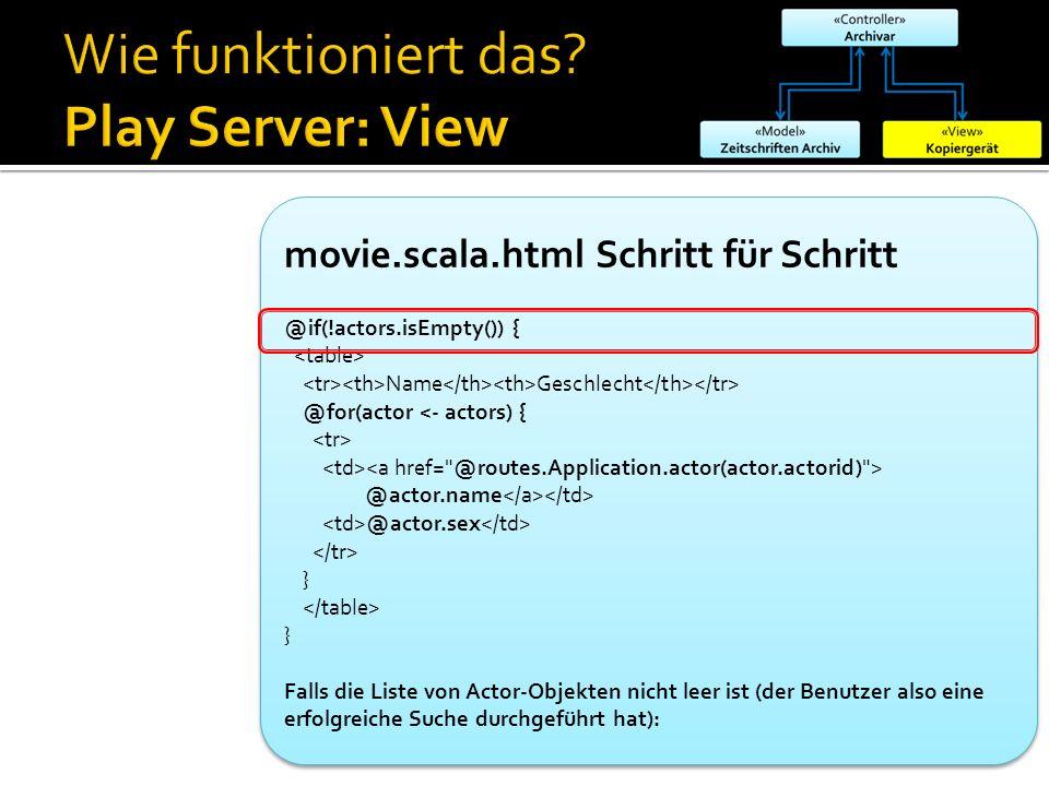 movie.scala.html Schritt für Schritt @if(!actors.isEmpty()) { Name Geschlecht @for(actor <- actors) { @actor.name @actor.sex } } Falls die Liste von A