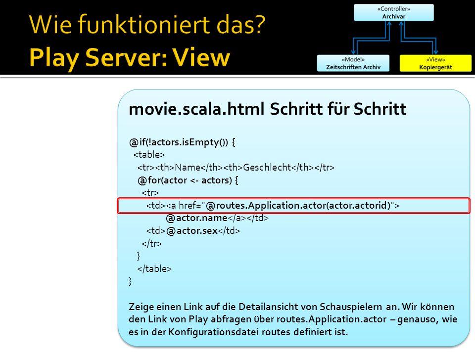 movie.scala.html Schritt für Schritt @if(!actors.isEmpty()) { Name Geschlecht @for(actor <- actors) { @actor.name @actor.sex } } Zeige einen Link auf die Detailansicht von Schauspielern an.