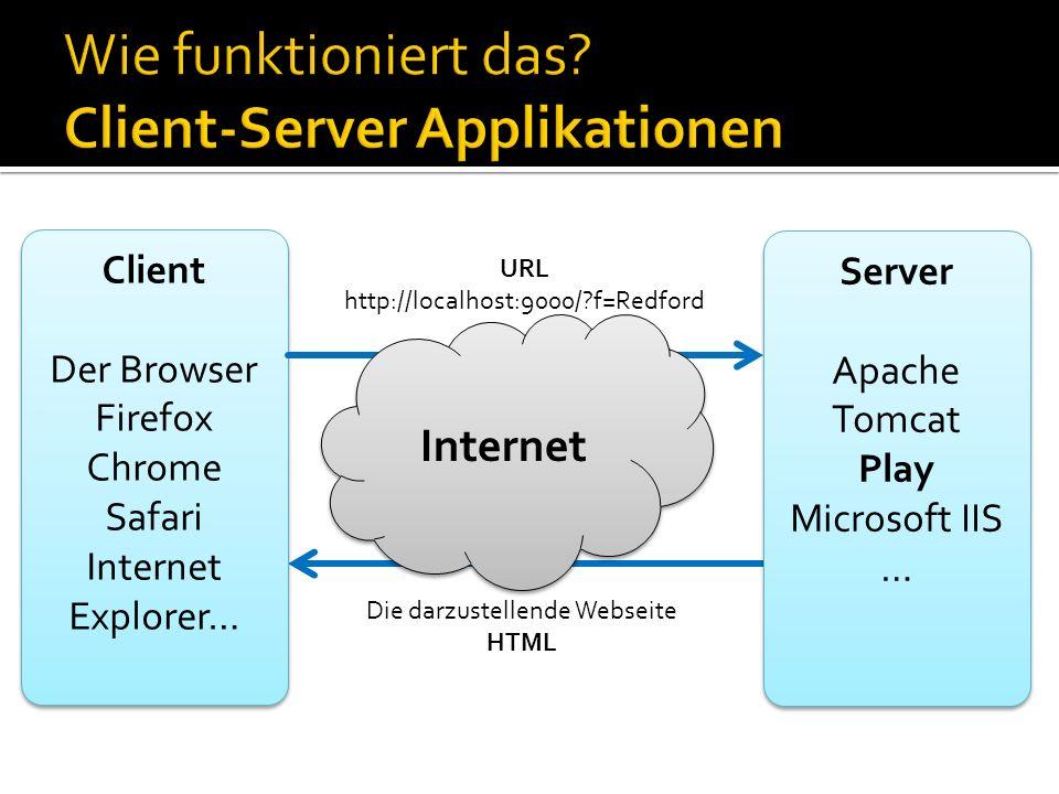 Client Der Browser Firefox Chrome Safari Internet Explorer… Client Der Browser Firefox Chrome Safari Internet Explorer… Server Apache Tomcat Play Micr