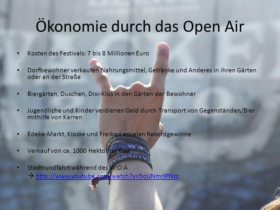 Ökonomie durch das Open Air Kosten des Festivals: 7 bis 8 Millionen Euro Dorfbewohner verkaufen Nahrungsmittel, Getränke und Anderes in ihren Gärten o