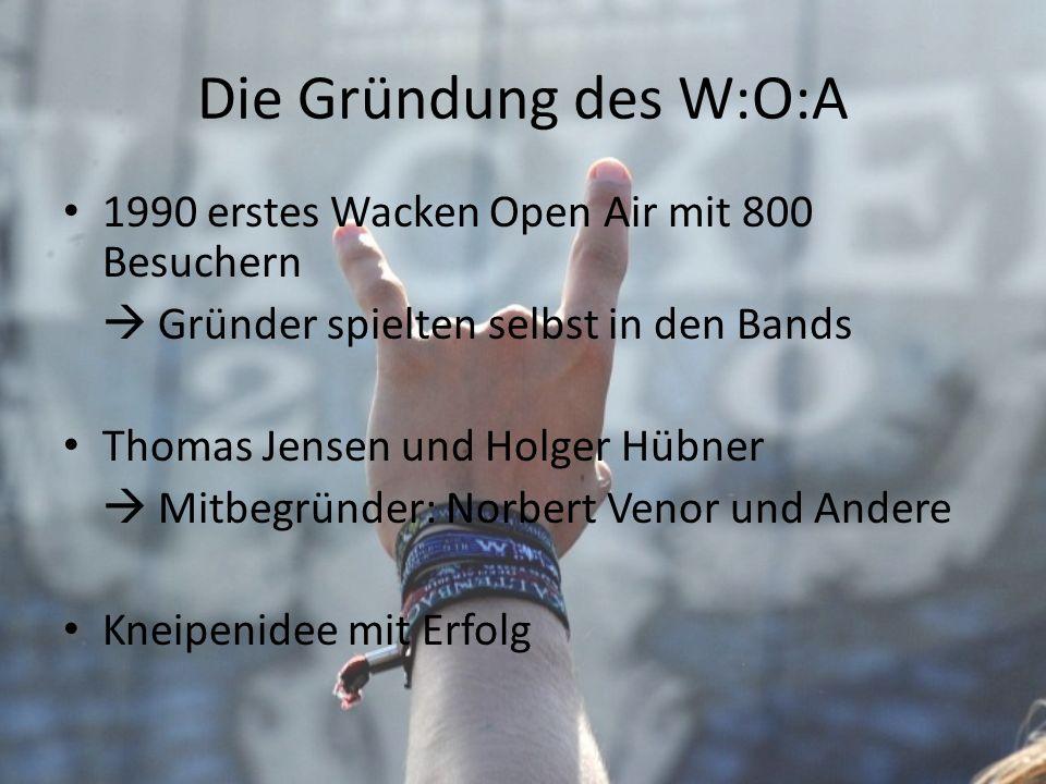 Die Gründung des W:O:A 1990 erstes Wacken Open Air mit 800 Besuchern Gründer spielten selbst in den Bands Thomas Jensen und Holger Hübner Mitbegründer