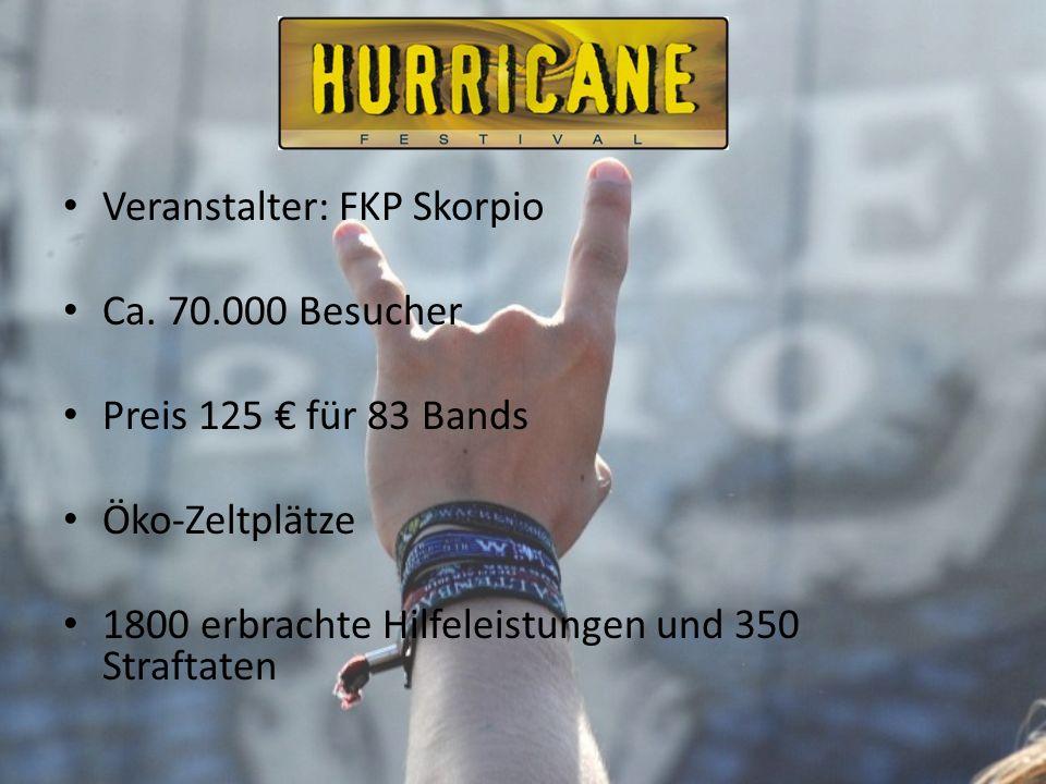 Veranstalter: FKP Skorpio Ca. 70.000 Besucher Preis 125 für 83 Bands Öko-Zeltplätze 1800 erbrachte Hilfeleistungen und 350 Straftaten