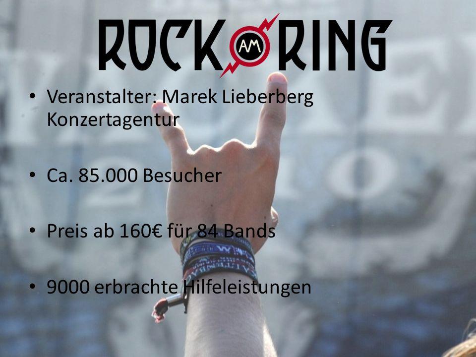 Veranstalter: Marek Lieberberg Konzertagentur Ca. 85.000 Besucher Preis ab 160 für 84 Bands 9000 erbrachte Hilfeleistungen