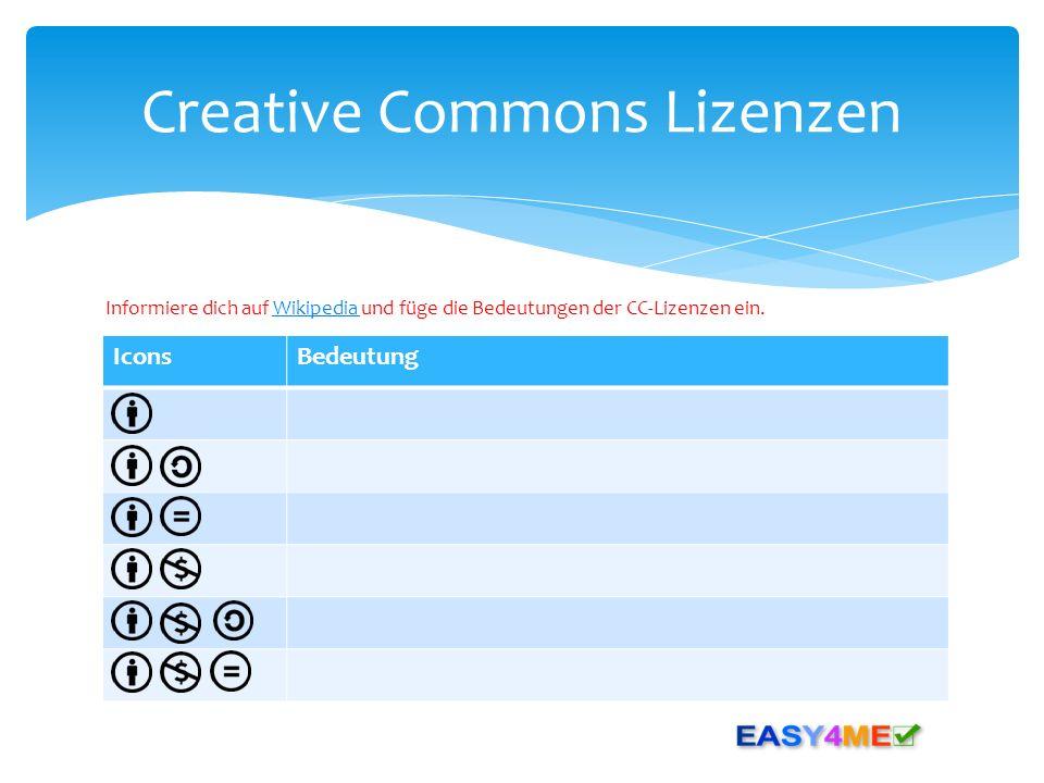 IconsBedeutung Creative Commons Lizenzen Informiere dich auf Wikipedia und füge die Bedeutungen der CC-Lizenzen ein.Wikipedia