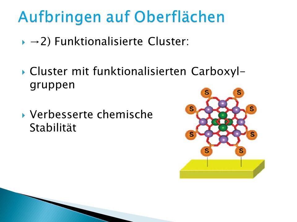 2) Funktionalisierte Cluster: Cluster mit funktionalisierten Carboxyl- gruppen Verbesserte chemische Stabilität