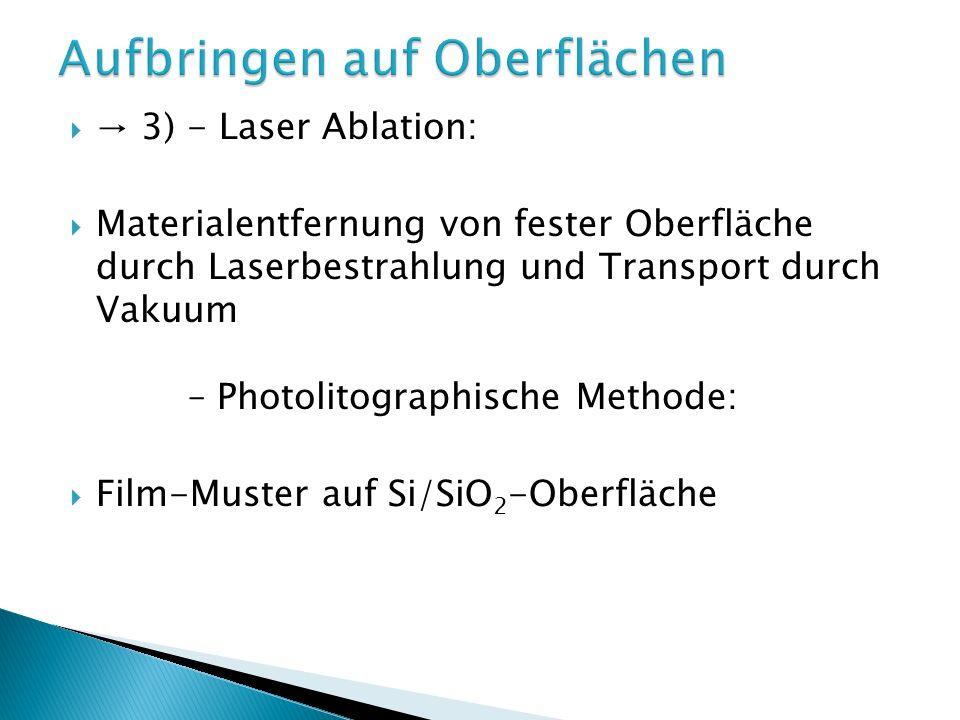 3) - Laser Ablation: Materialentfernung von fester Oberfläche durch Laserbestrahlung und Transport durch Vakuum – Photolitographische Methode: Film-Muster auf Si/SiO 2 -Oberfläche