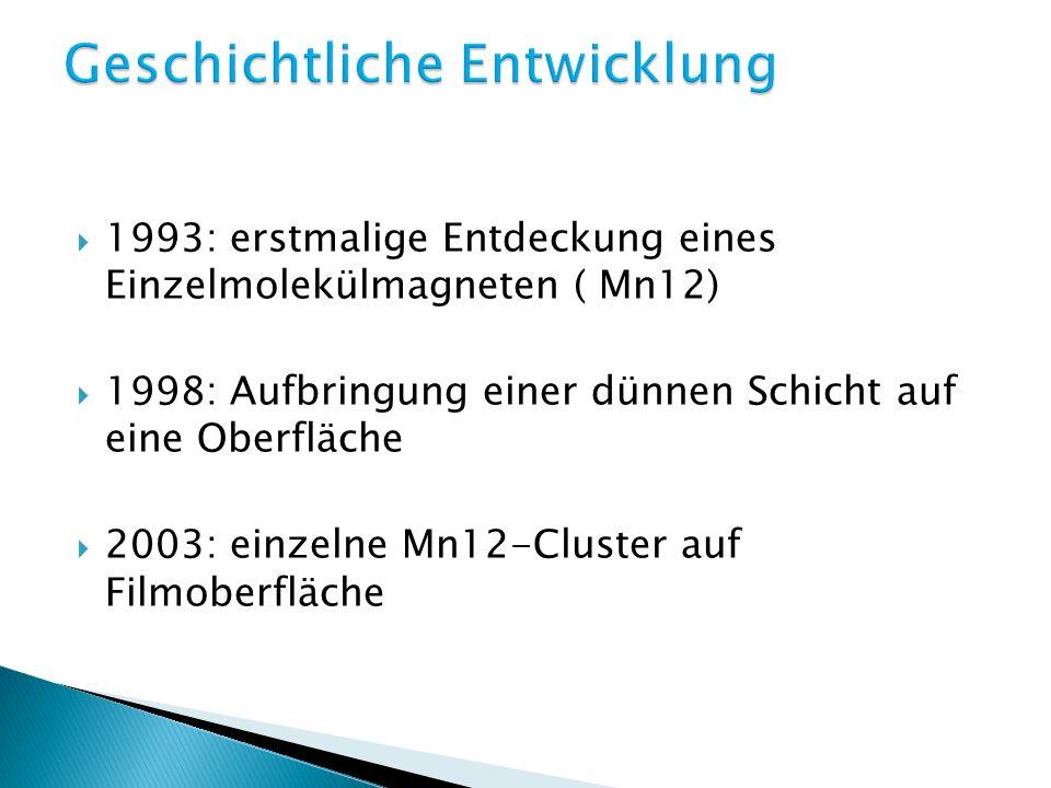 1993: erstmalige Entdeckung eines Einzelmolekülmagneten ( Mn12) 1998: Aufbringung einer dünnen Schicht auf eine Oberfläche 2003: einzelne Mn12-Cluster auf Filmoberfläche