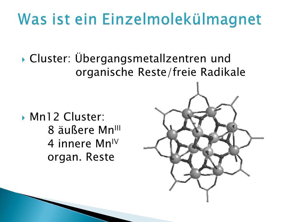 Cluster: Übergangsmetallzentren und organische Reste/freie Radikale Mn12 Cluster: 8 äußere Mn III 4 innere Mn IV organ. Reste