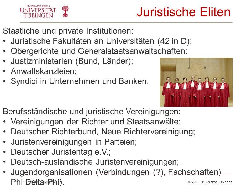 19 | Prof. Dr. Rüdiger Wulf © 2012 Universität Tübingen Juristische Eliten Staatliche und private Institutionen: Juristische Fakultäten an Universität
