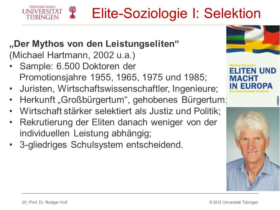 20 | Prof. Dr. Rüdiger Wulf © 2012 Universität Tübingen Elite-Soziologie I: Selektion Der Mythos von den Leistungseliten (Michael Hartmann, 2002 u.a.)