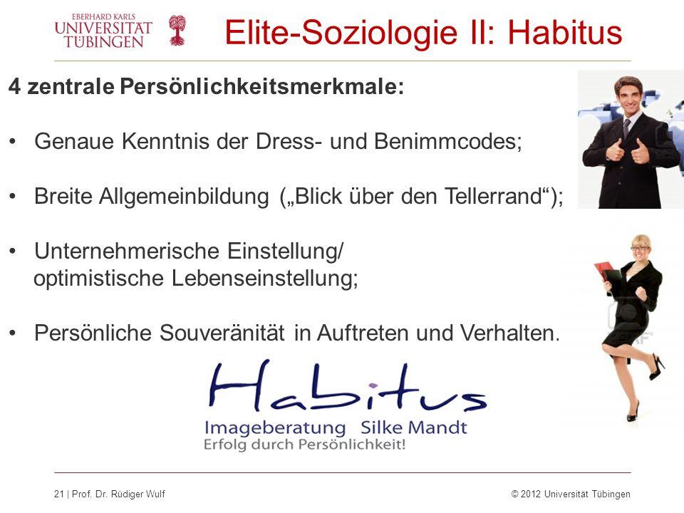21 | Prof. Dr. Rüdiger Wulf © 2012 Universität Tübingen Elite-Soziologie II: Habitus 4 zentrale Persönlichkeitsmerkmale: Genaue Kenntnis der Dress- un