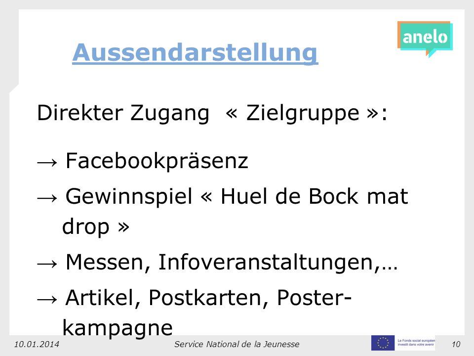 Direkter Zugang « Zielgruppe »: Facebookpräsenz Gewinnspiel « Huel de Bock mat drop » Messen, Infoveranstaltungen,… Artikel, Postkarten, Poster- kampagne 10.01.2014Service National de la Jeunesse10 Aussendarstellung