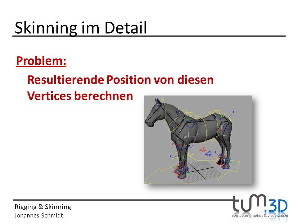 computer graphics & visualization Rigging & Skinning Johannes Schmidt Skinning im Detail Problem: Resultierende Position von diesen Vertices berechnen