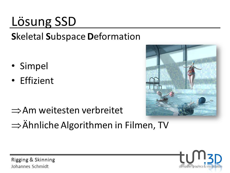 computer graphics & visualization Rigging & Skinning Johannes Schmidt Lösung SSD Skeletal Subspace Deformation Simpel Effizient Am weitesten verbreitet Ähnliche Algorithmen in Filmen, TV