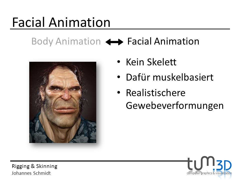 computer graphics & visualization Rigging & Skinning Johannes Schmidt Facial Animation Body Animation Facial Animation Kein Skelett Dafür muskelbasier