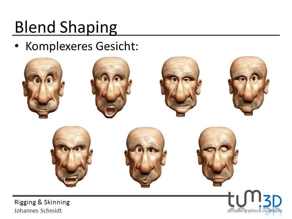 computer graphics & visualization Rigging & Skinning Johannes Schmidt Blend Shaping Komplexeres Gesicht: