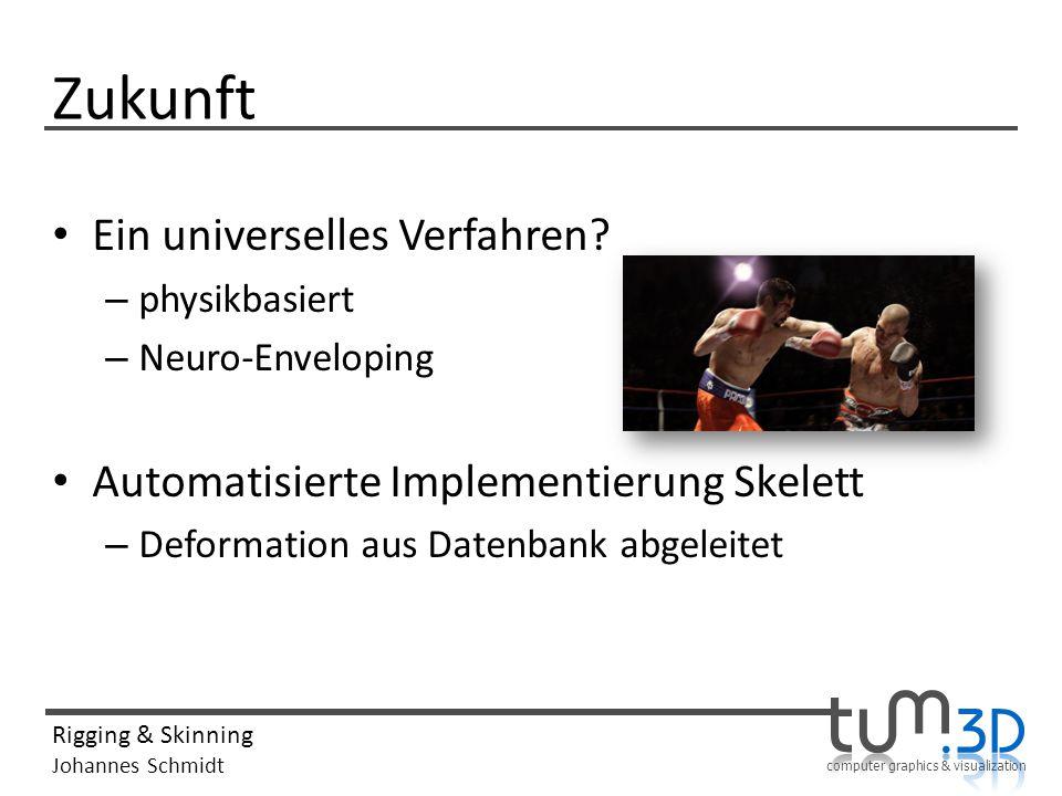 computer graphics & visualization Rigging & Skinning Johannes Schmidt Zukunft Ein universelles Verfahren.