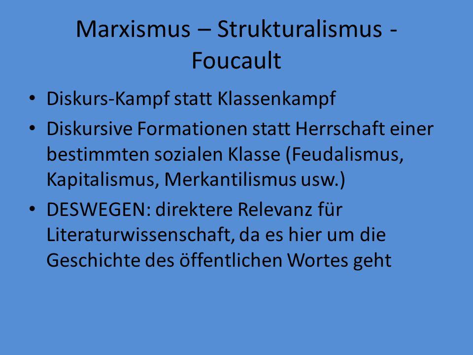 Marxismus – Strukturalismus - Foucault Diskurs-Kampf statt Klassenkampf Diskursive Formationen statt Herrschaft einer bestimmten sozialen Klasse (Feudalismus, Kapitalismus, Merkantilismus usw.) DESWEGEN: direktere Relevanz für Literaturwissenschaft, da es hier um die Geschichte des öffentlichen Wortes geht