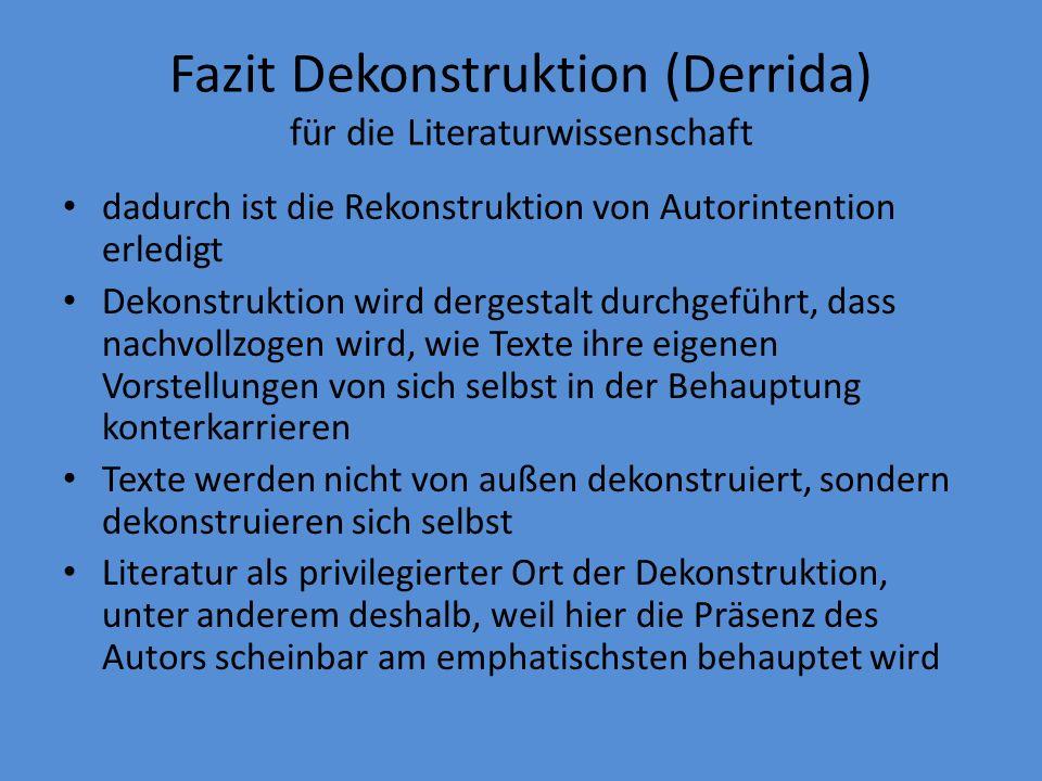 Fazit Dekonstruktion (Derrida) für die Literaturwissenschaft dadurch ist die Rekonstruktion von Autorintention erledigt Dekonstruktion wird dergestalt durchgeführt, dass nachvollzogen wird, wie Texte ihre eigenen Vorstellungen von sich selbst in der Behauptung konterkarrieren Texte werden nicht von außen dekonstruiert, sondern dekonstruieren sich selbst Literatur als privilegierter Ort der Dekonstruktion, unter anderem deshalb, weil hier die Präsenz des Autors scheinbar am emphatischsten behauptet wird
