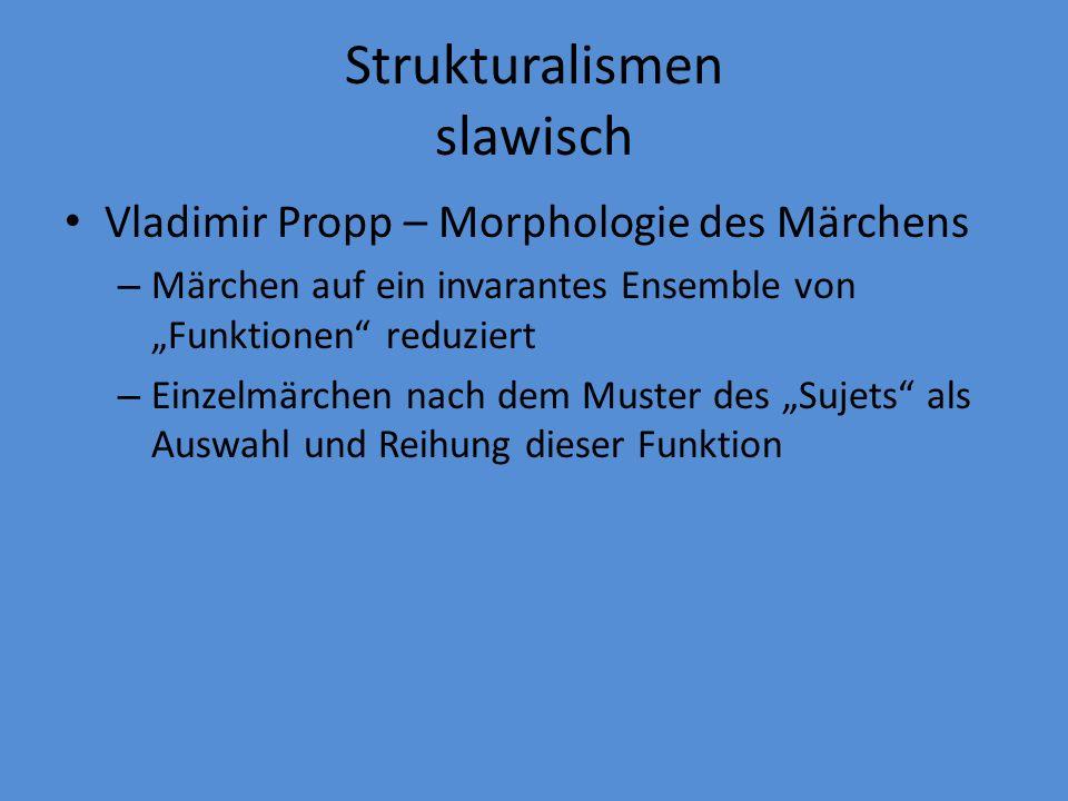 Strukturalismen allgemein Férdinand de Saussure Claude Lévi-Strauss – anthropologisches Auffinden von Mustern im Verhalten und Zeichensetzung südamerikanischer Stämme, mit binären Aufteilungen wie roh vs gekocht, rund vs.