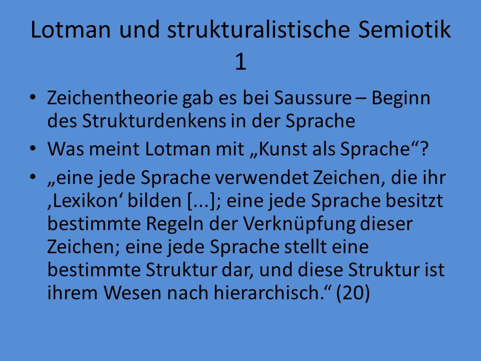 Lotman und strukturalistische Semiotik 1 Zeichentheorie gab es bei Saussure – Beginn des Strukturdenkens in der Sprache Was meint Lotman mit Kunst als Sprache.