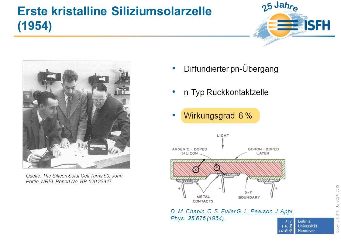 Copyright ISFH, June 29 th, 2012 Erste kristalline Siliziumsolarzelle (1954) Quelle: The Silicon Solar Cell Turns 50, John Perlin, NREL Report No.