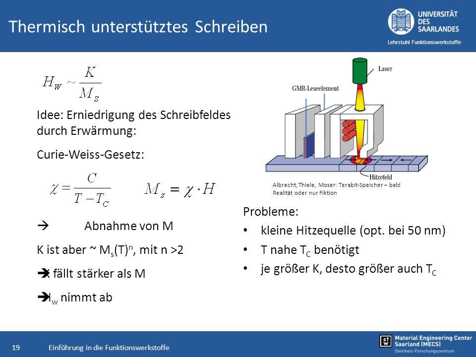 Einführung in die Funktionswerkstoffe19 Lehrstuhl Funktionswerkstoffe Thermisch unterstütztes Schreiben Probleme: kleine Hitzequelle (opt. bei 50 nm)