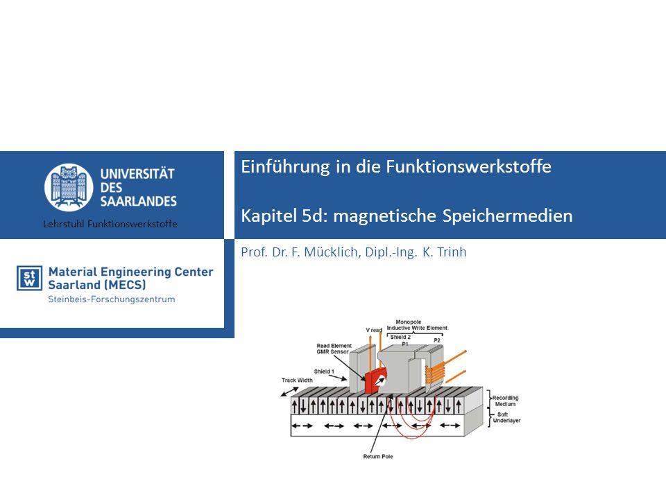 Lehrstuhl Funktionswerkstoffe Einführung in die Funktionswerkstoffe Kapitel 5d: magnetische Speichermedien Prof. Dr. F. Mücklich, Dipl.-Ing. K. Trinh