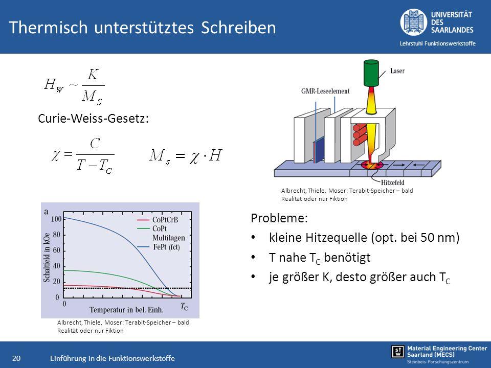 Einführung in die Funktionswerkstoffe20 Lehrstuhl Funktionswerkstoffe Thermisch unterstütztes Schreiben Probleme: kleine Hitzequelle (opt. bei 50 nm)
