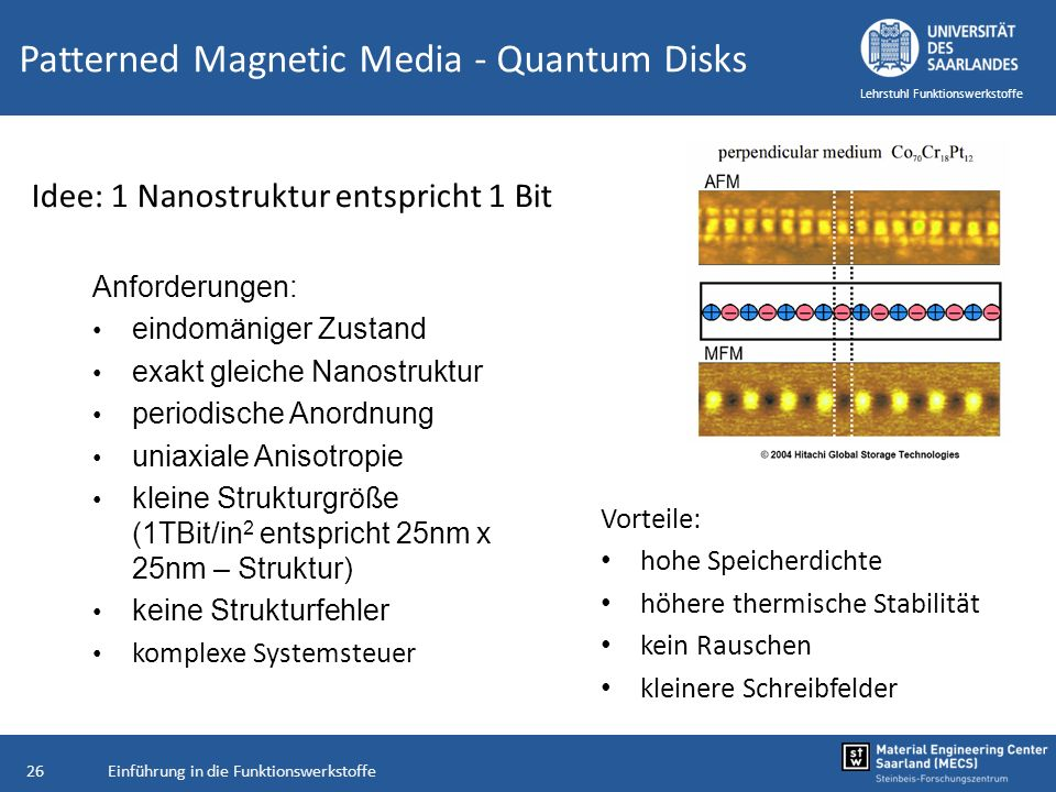 Einführung in die Funktionswerkstoffe26 Lehrstuhl Funktionswerkstoffe Patterned Magnetic Media - Quantum Disks Vorteile: hohe Speicherdichte höhere th