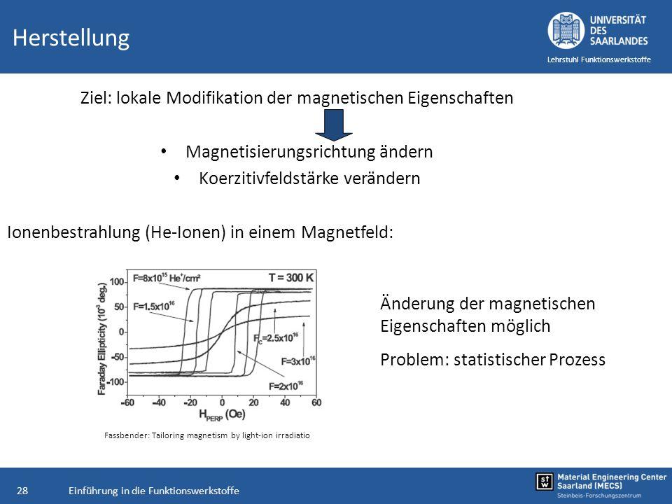 Einführung in die Funktionswerkstoffe28 Lehrstuhl Funktionswerkstoffe Herstellung Ziel: lokale Modifikation der magnetischen Eigenschaften Magnetisier