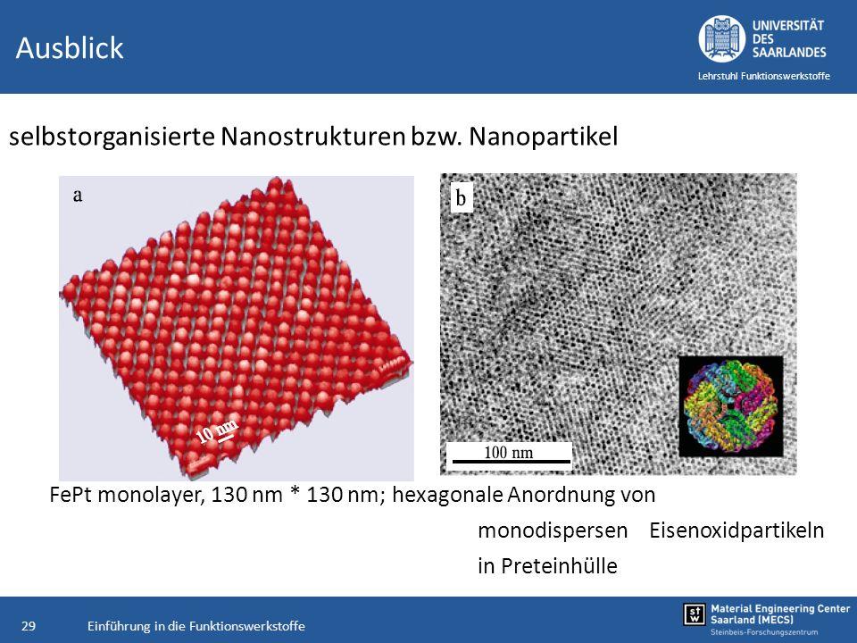Einführung in die Funktionswerkstoffe29 Lehrstuhl Funktionswerkstoffe Ausblick selbstorganisierte Nanostrukturen bzw. Nanopartikel FePt monolayer, 130