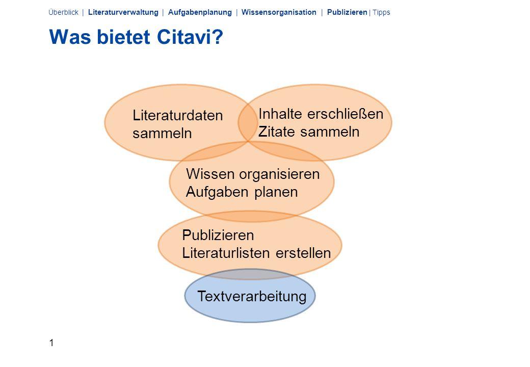 1 Überblick | Literaturverwaltung | Aufgabenplanung | Wissensorganisation | Publizieren | Tipps Was bietet Citavi.