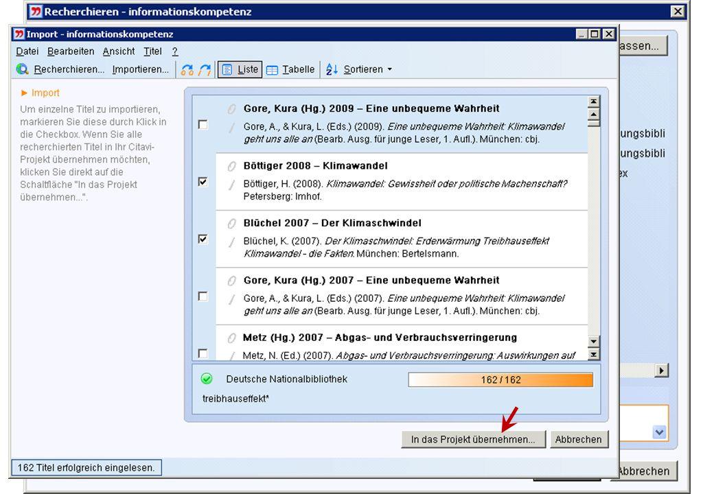 18 Überblick | Literaturverwaltung | Aufgabenplanung | Wissensorganisation | Publizieren | Tipps Online-Recherche über Citavi Gewünschte Datenbank aus