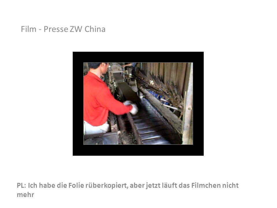 PL: Ich habe die Folie rüberkopiert, aber jetzt läuft das Filmchen nicht mehr Film - Presse ZW China