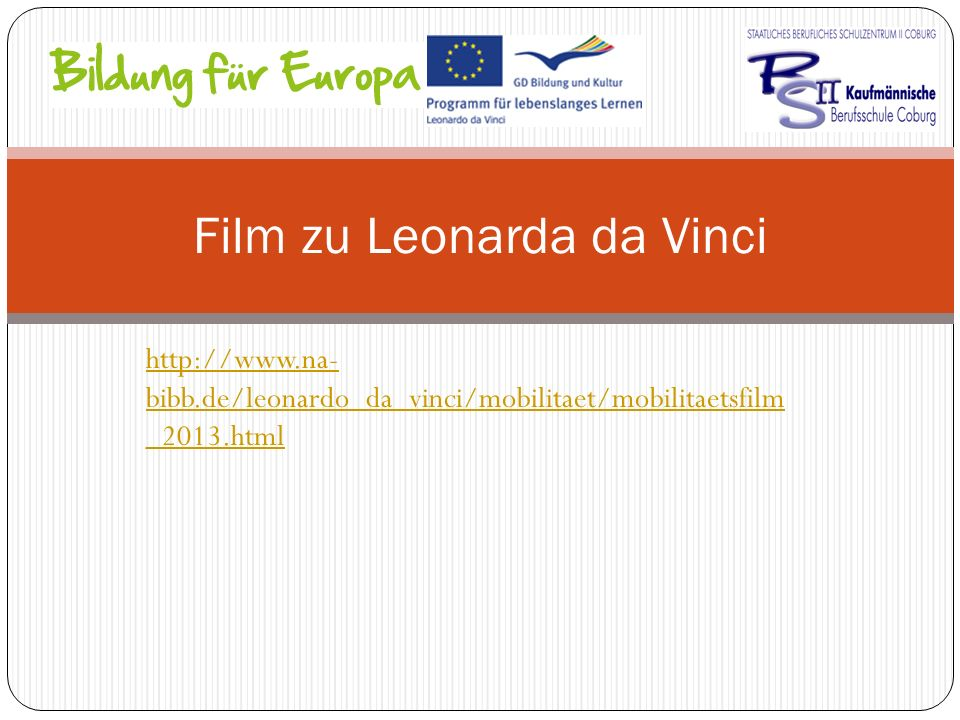 http://www.na- bibb.de/leonardo_da_vinci/mobilitaet/mobilitaetsfilm _2013.html Film zu Leonarda da Vinci