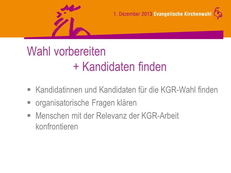 Wahl vorbereiten + Kandidaten finden Kandidatinnen und Kandidaten für die KGR-Wahl finden organisatorische Fragen klären Menschen mit der Relevanz der KGR-Arbeit konfrontieren