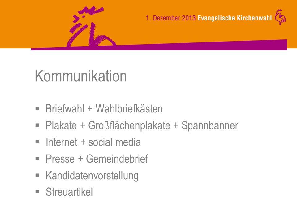 Kommunikation Briefwahl + Wahlbriefkästen Plakate + Großflächenplakate + Spannbanner Internet + social media Presse + Gemeindebrief Kandidatenvorstellung Streuartikel
