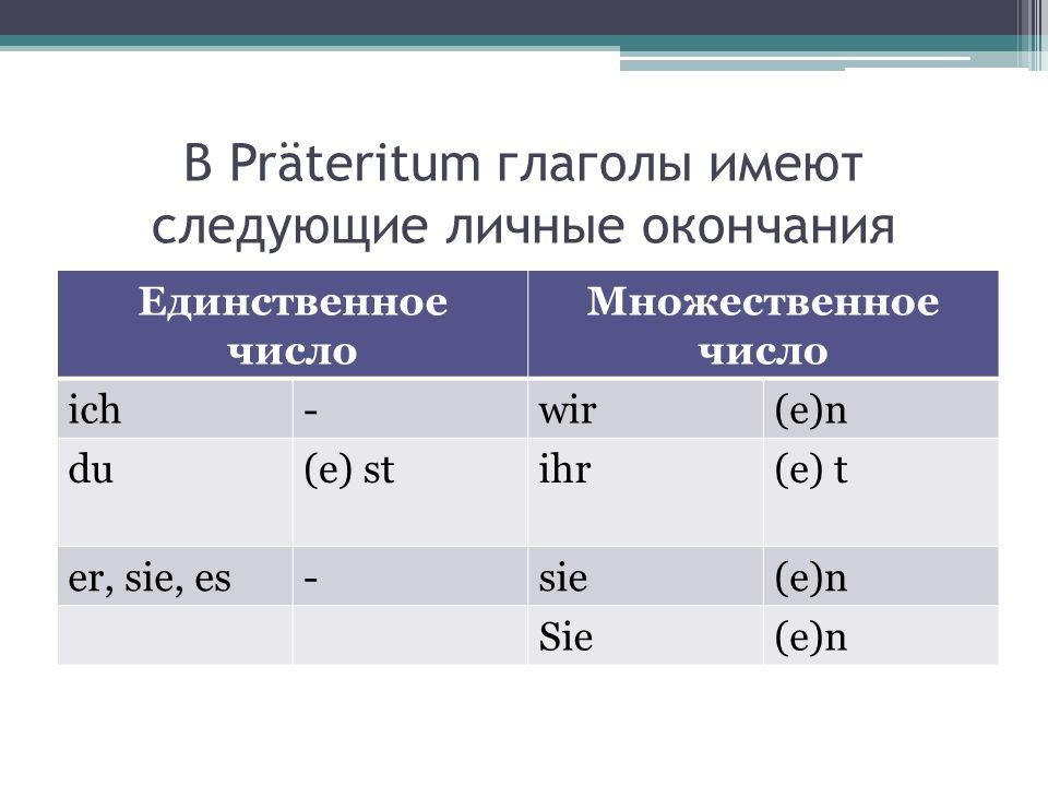 В Präteritum глаголы имеют следующие личные окончания Единственное число Множественное число ich-wir(e)n du(e) stihr(e) t er, sie, es-sie(e)n Sie(e)n