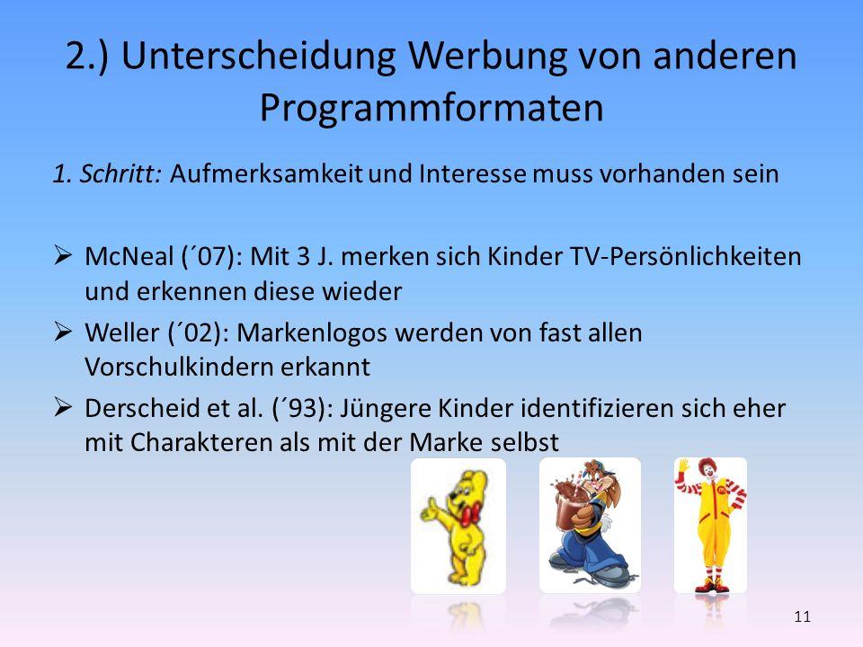 2.) Unterscheidung Werbung von anderen Programmformaten 1. Schritt: Aufmerksamkeit und Interesse muss vorhanden sein McNeal (´07): Mit 3 J. merken sic
