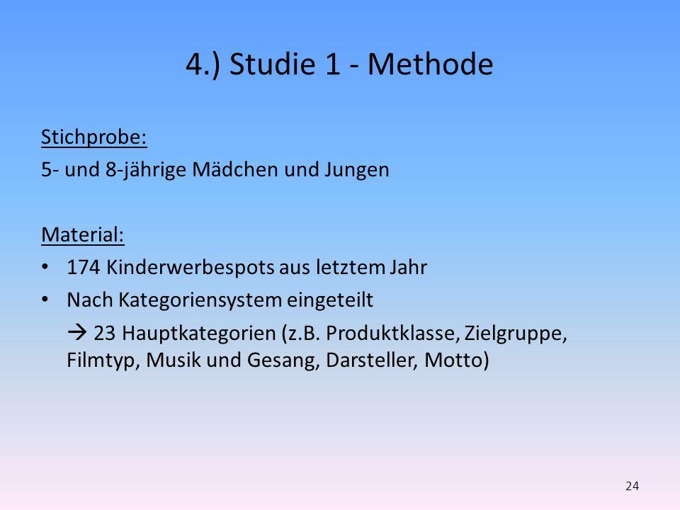 4.) Studie 1 - Methode Stichprobe: 5- und 8-jährige Mädchen und Jungen Material: 174 Kinderwerbespots aus letztem Jahr Nach Kategoriensystem eingeteil