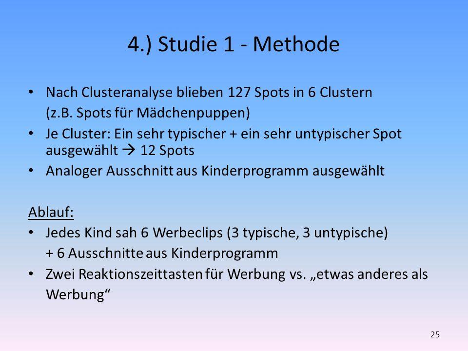 4.) Studie 1 - Methode Nach Clusteranalyse blieben 127 Spots in 6 Clustern (z.B. Spots für Mädchenpuppen) Je Cluster: Ein sehr typischer + ein sehr un