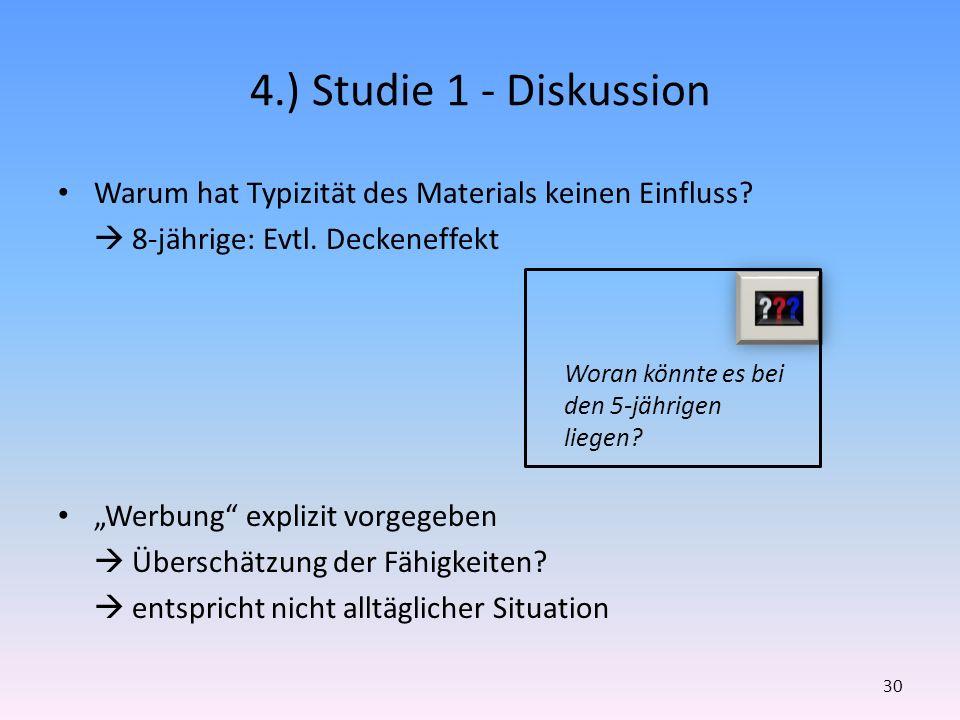 4.) Studie 1 - Diskussion Warum hat Typizität des Materials keinen Einfluss? 8-jährige: Evtl. Deckeneffekt Werbung explizit vorgegeben Überschätzung d
