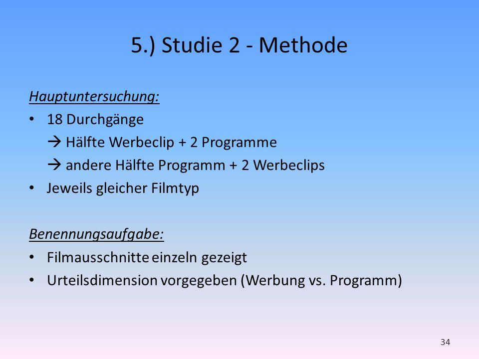 5.) Studie 2 - Methode Hauptuntersuchung: 18 Durchgänge Hälfte Werbeclip + 2 Programme andere Hälfte Programm + 2 Werbeclips Jeweils gleicher Filmtyp