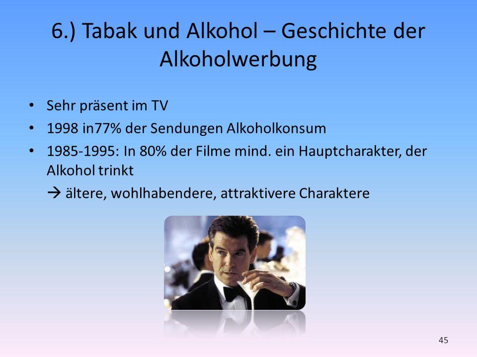 6.) Tabak und Alkohol – Geschichte der Alkoholwerbung Sehr präsent im TV 1998 in77% der Sendungen Alkoholkonsum 1985-1995: In 80% der Filme mind. ein