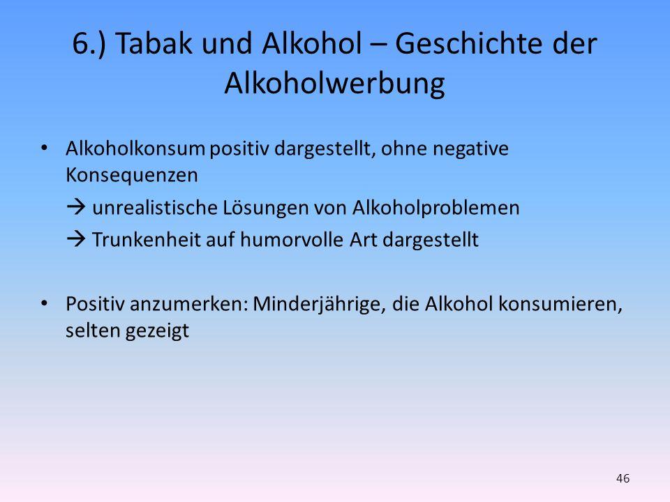 6.) Tabak und Alkohol – Geschichte der Alkoholwerbung Alkoholkonsum positiv dargestellt, ohne negative Konsequenzen unrealistische Lösungen von Alkoho