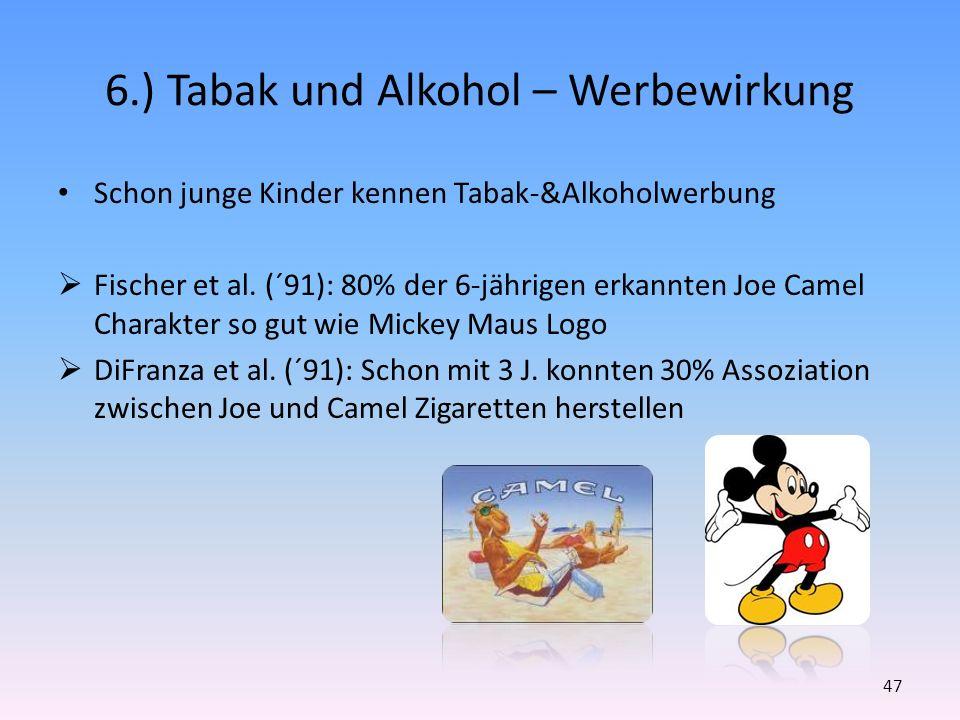 6.) Tabak und Alkohol – Werbewirkung Schon junge Kinder kennen Tabak-&Alkoholwerbung Fischer et al. (´91): 80% der 6-jährigen erkannten Joe Camel Char