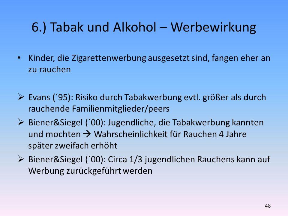 6.) Tabak und Alkohol – Werbewirkung Kinder, die Zigarettenwerbung ausgesetzt sind, fangen eher an zu rauchen Evans (´95): Risiko durch Tabakwerbung e