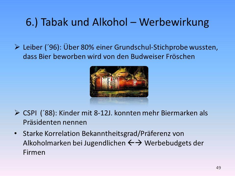 6.) Tabak und Alkohol – Werbewirkung Leiber (´96): Über 80% einer Grundschul-Stichprobe wussten, dass Bier beworben wird von den Budweiser Fröschen CS