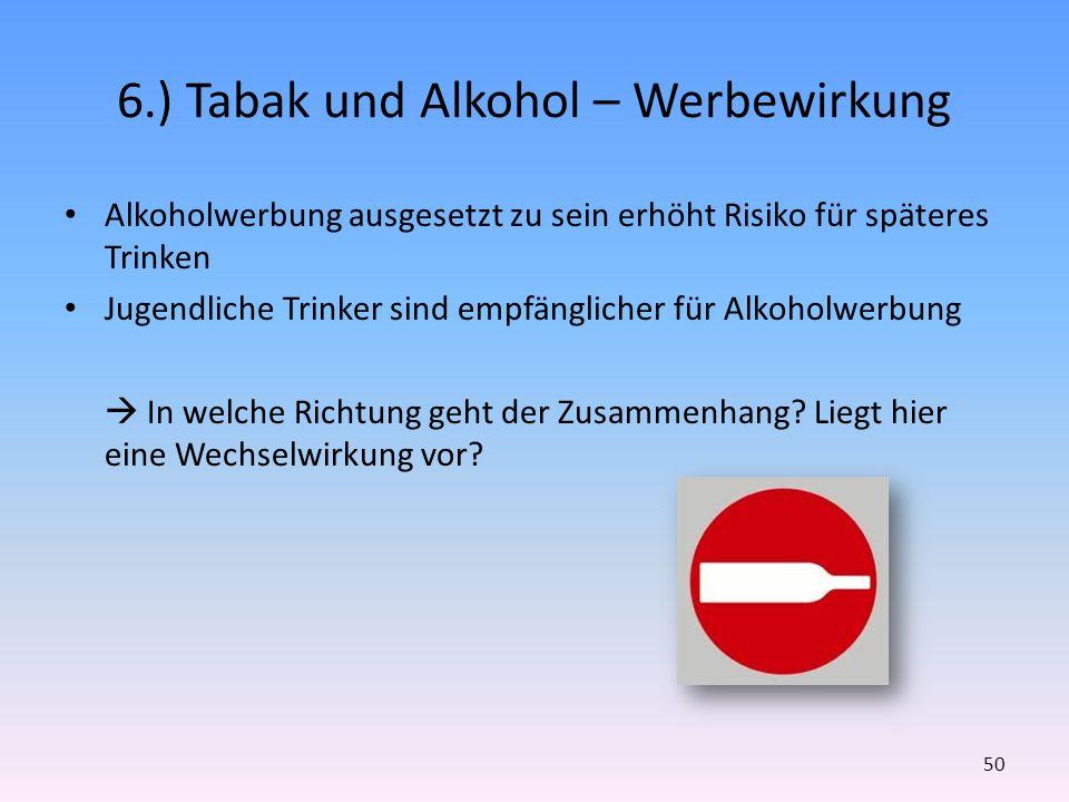 6.) Tabak und Alkohol – Werbewirkung Alkoholwerbung ausgesetzt zu sein erhöht Risiko für späteres Trinken Jugendliche Trinker sind empfänglicher für A